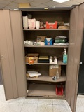Metal Cabinet & Contents - Food Serving Containers, Scotch Brite Quick Clean Griddle Liquid & More