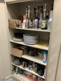 Metal Cabinet & Contents - Drink Syrups, Salt & Pepper Shakers, Mean Green Cleaner & More