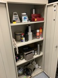 Metal Cabinet & Contents - Timer, Hardware, & More