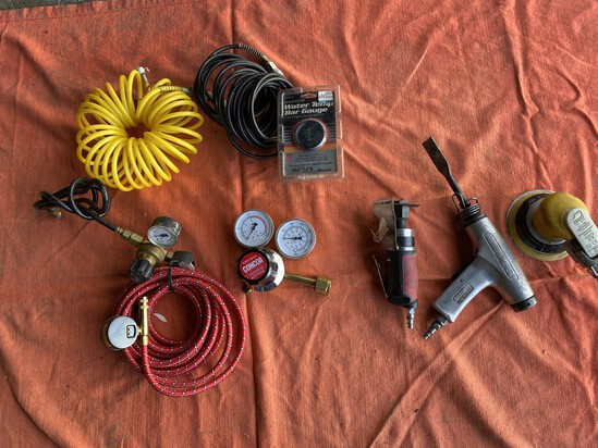 Group lot of assorted air tools and related