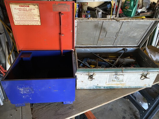Parts cleaner box and toolbox with tools