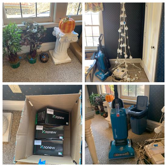 Christmas Lights, Light Up Tree, Plant Stand & Hoover Vacuum
