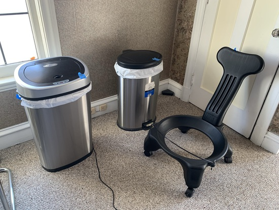 Nice Group of Office Chairs, Stainless Trash Cans, & More