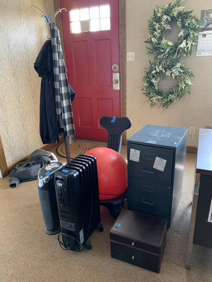 2 Drawer Filing Cabinet, Exercise Chair, Coat Rack, Electric Heater & More