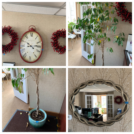 Large Wall Clock with Wreaths, Plant, & Mirror