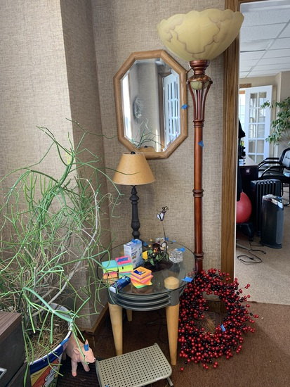Lamp, Mirror, Side Table, Wreath, Monitor Stand, & More