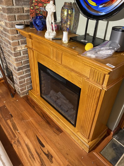 Electric Fireplace with Oak Mantle