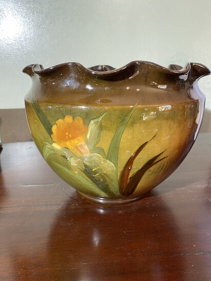 Weller Louwelsa Art Pottery Jardiniere with Ruffled Edge