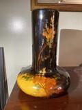 Very unusual Weller Aurelia Art Pottery Vase with long neck