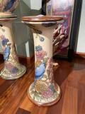 Rare Weller Art Pottery Pedestal - Parrots and flowers