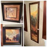 Three pieces of framed decorator art