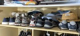 Shelf lot of assorted men's shoes including nearly new