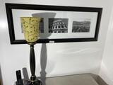 Lamp, phone, framed Roman artwork