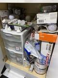 Cupboard contents - mostly light bulbs, Ralph Lauren paint