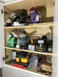 Cupboard contents - Tools including DeWalt Rechargeable drill, bits etc