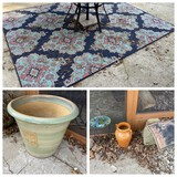 Outdoor rug, large planter and more