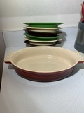 Le Creuset Casserole Dish  & 6 Fiesta Individual Oval Casserole Dishes