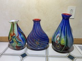 3 Beautiful Pieces of Art Glass