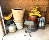 Group of Planting Pots, Propane Tanks, Plant Stands & Potting Mix