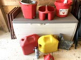 Gas Cans, Keter Storage Chest, Buckets and T.V. Trays