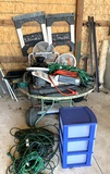 Patio Table, Saw Horses, Extension Cords, Bed Frame and More