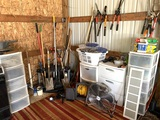 Great Group of Handles, Gardening Tools, Organizers, Fan, Extension Cord and More. See Photos