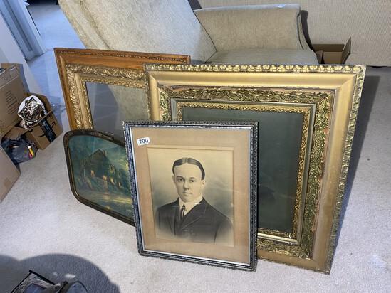 Lot of Antique portraits, frames, print