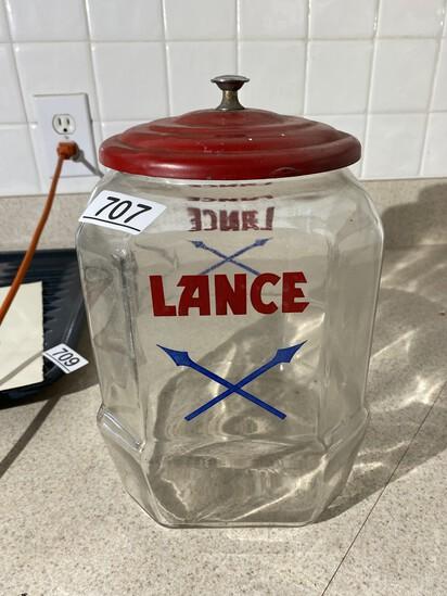 Rare Lance Glass Cracker Jar w/Lid and Good Graphics