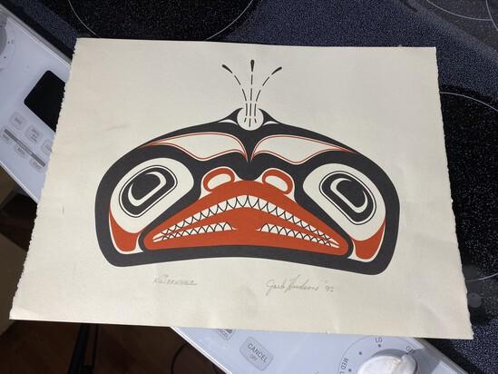 Northwest Native American Signed Totem Killer Whale Print