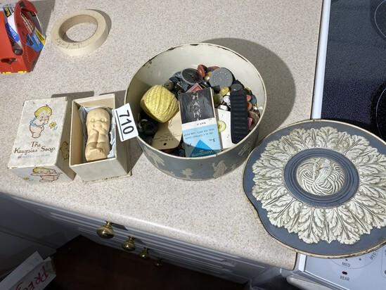 Metal Tin full of buttons PLUS Kewpies Soap
