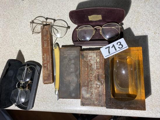 Spectacles, Straight Razor, hone, heavy glass ashtray