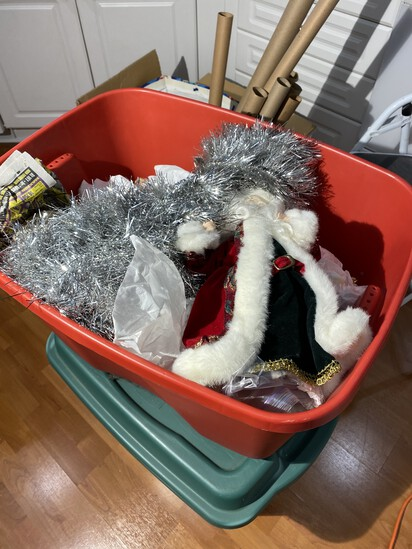 2 totes of Christmas items