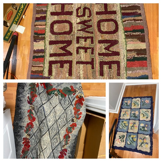 Group lot of 3 Antique Hooked Rugs
