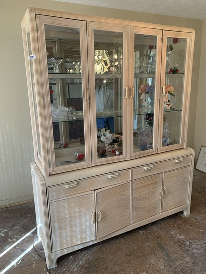 Glass Front China Hutch with Contents - assorted glass and more