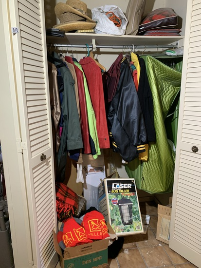 Clean Out Hall Closet - Coats, Bug Light, Yellow Pages Advertising Hat