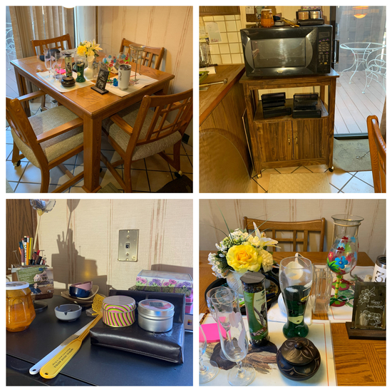 Dining Room Table with 6 Chairs, Microwave, Microwave Stand and Decorative Items