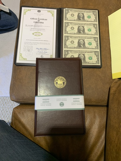 4 Booklets of  World Reserve Monetary Exchange Uncut & Uncirculated U.S. Currency $1 Bills