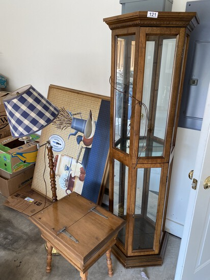 Display or Curio cabinet, small stand, lamp, painting