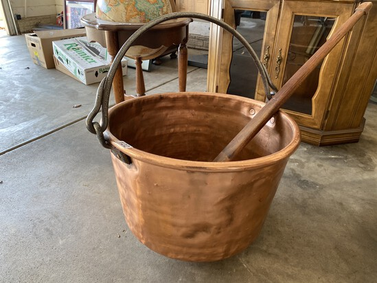 Rare Large Antique Copper Apple Butter Churn