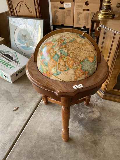 Vintage Globe with Oak Stand