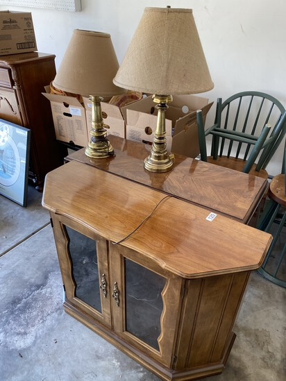 Console table, display cabinet, two lamps