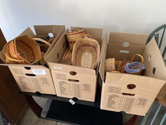 3 boxes of vintage baskets including Longaberger