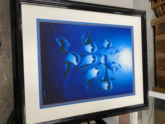 Large marine print by Wyland dolphins