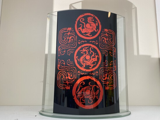 Asian inspired glass decorative piece