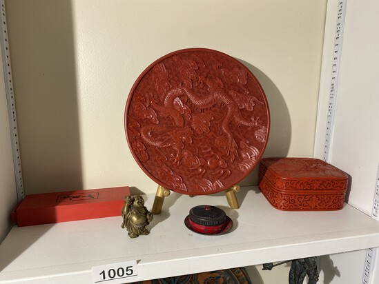 Cinnabar plate and box, small buddha and other Chinese objects lot