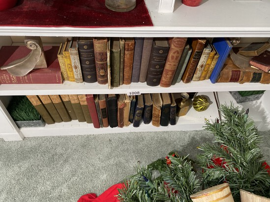 2 shelves and vintage and antique books