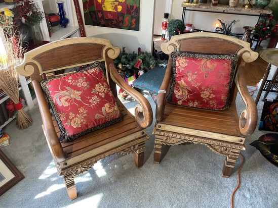Pair of large heavy Asian inspired chairs