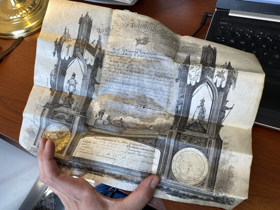1864 Buffalo NY Knights Templar Fraternal Document for Hazard H Sheldon