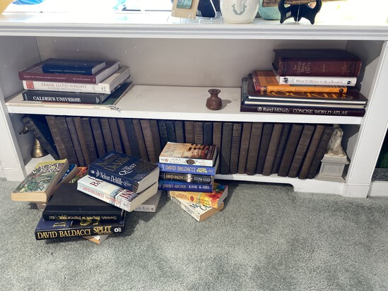 Two shelves of books and more