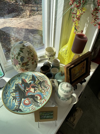 Group lot of assorted art pottery, Wedgwood, art and more